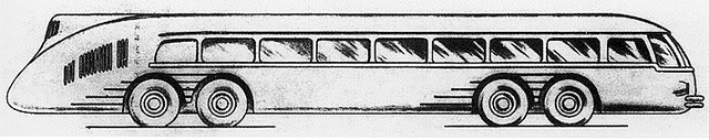A concept of the VOMAG Kontinent Express (Reichsautobahnbus) eight-wheeler, 1936